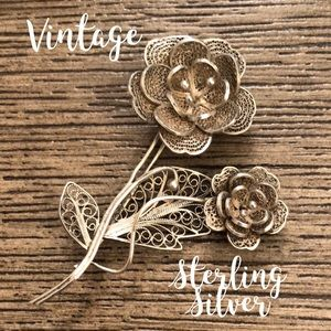 Vintage Sterling Silver Filigree Double Flower Pin